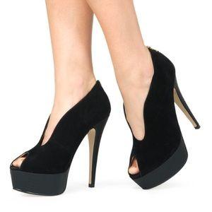 Just Fab Hiral Black U-Front Heel
